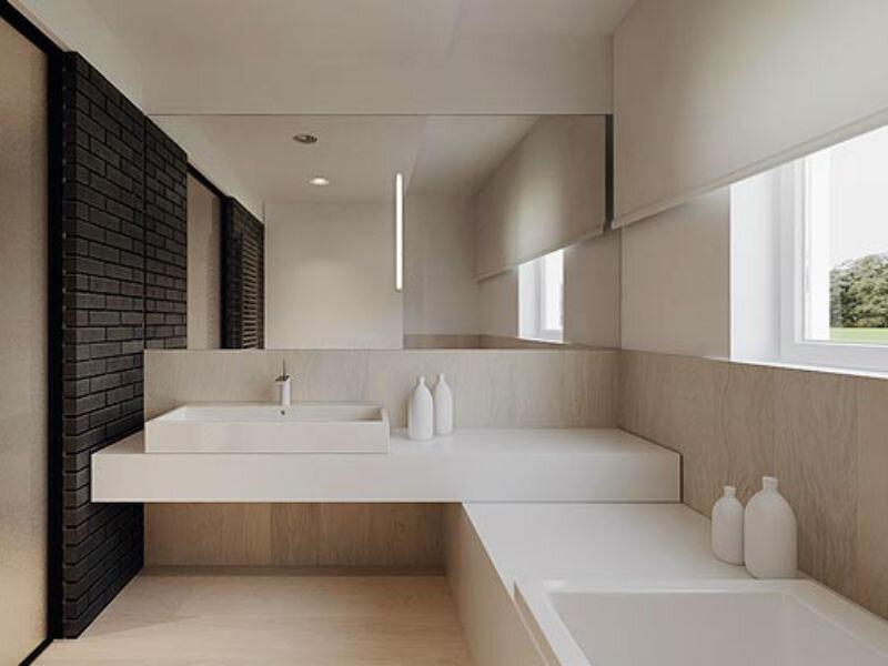 Минимализм в интерьере ванной комнаты фото