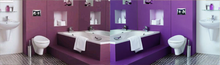 дизайн ванной красное и фиолетовое