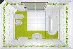 Дизайн проект ванной вид сверху