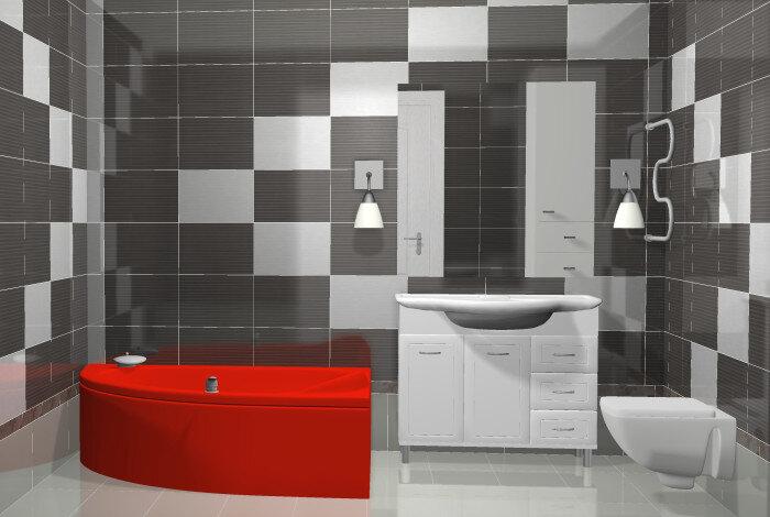крассная ванна и черная плитка