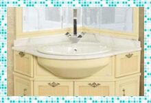 Красивый угловой мойдодыр для ванной комнаты