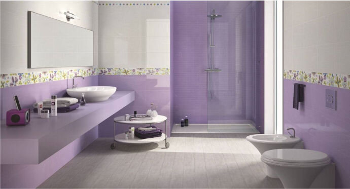 Дизайн ванной фото сиреневого цвета плитка 192