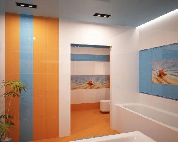 Оранжевая голубая плитка ванная