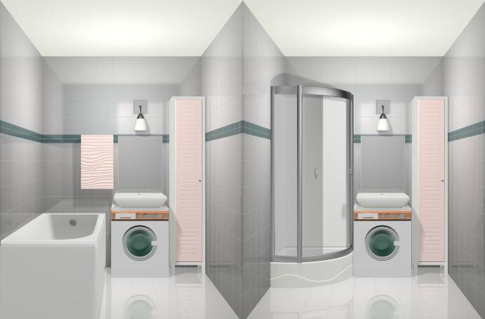 Один и тот же интерьер с ванной и душевой кабиной