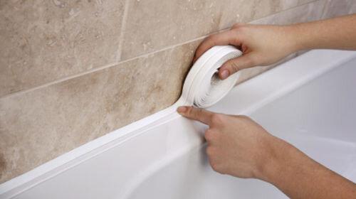 наклеивание ленты стык ванна
