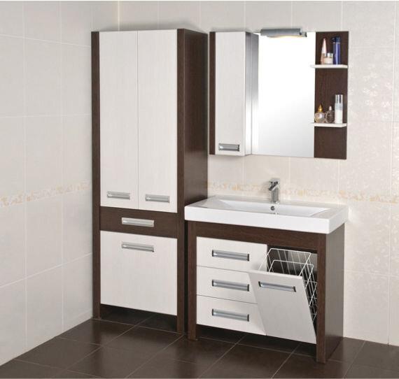 """Тумба для ванной комнаты """"Маттео 90"""" белая с венге 89,5см с корзиной для белья Аква Родос"""