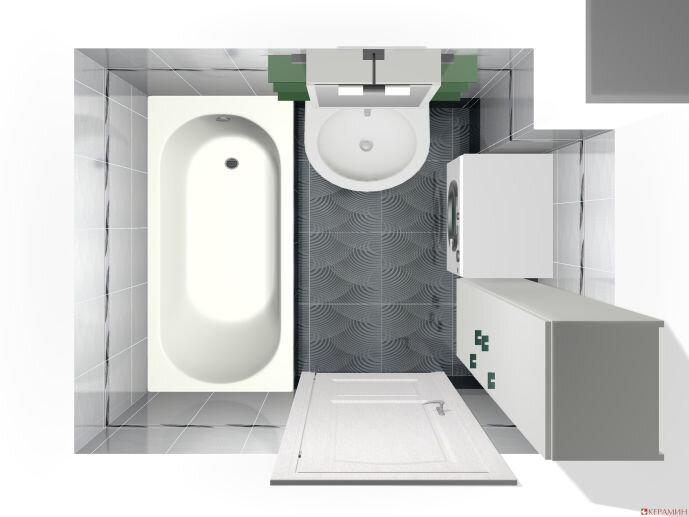 Дизайн проект маленькой ванной вид сверху