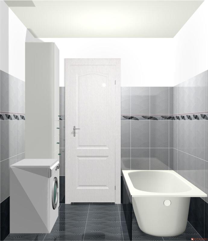 Дизайн проект маленькой ванной вид на дверь