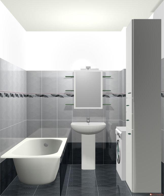 """Дизайн проект маленькой ванной вид из """"двери"""""""