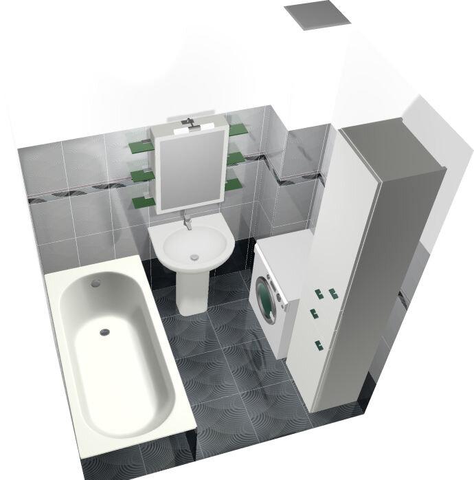 Дизайн проект маленькой ванной вид перспектива