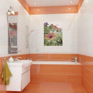 оранжевая плитка ванная