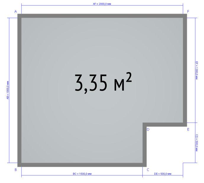 План помещения санузла 3,35 м2