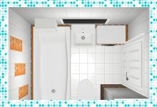 Проект белой ванной комнаты с оранжевым акцентом