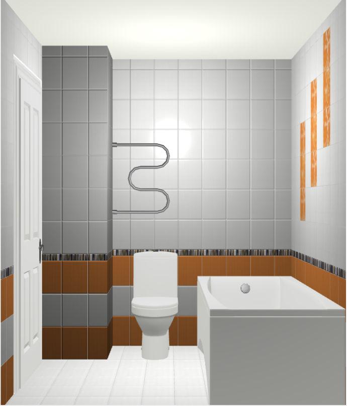 Прокт дизайна ванной в белом цвете с оранжевым акцентом