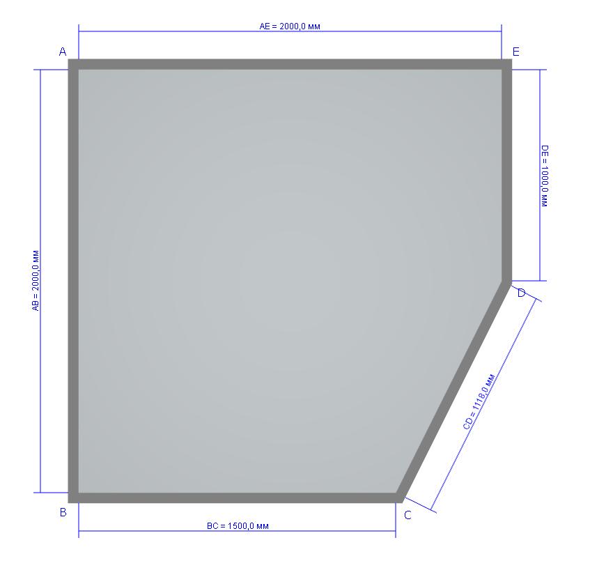 План нашей ванной комнаты, не стандартная скошенная стена с дверью.