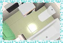 Проект ванной комнаты 3,6 кв. м. в винтажном стиле