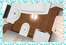 Проект ванной комнаты 3,6 квадратных метра — плитка под «дерево»